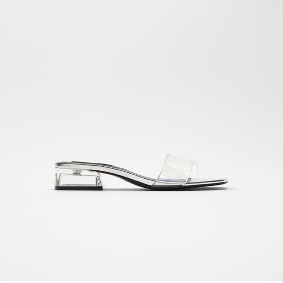 Zara Clear Sandals Low Heel
